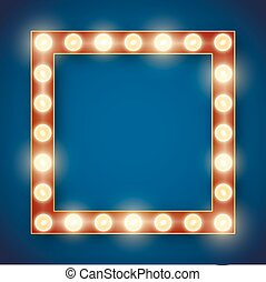 Frame lamp - Blue red gold colored vector retro looks frame...