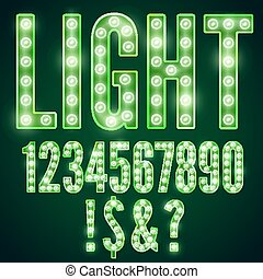 Lamp font - Green neon font with show lamps, vector number...