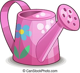 Detailed Icon. Pink watering can isolated on white...