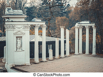 Lazienki Park with Roman inspired amphitheatre and Palace on...
