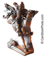 Knight figurine from Vietnam or China - traditional wooden sculpture