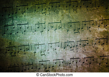 Vintage Music Sheet - background of weathered and textured...
