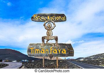 entrada, Diablo,  timanfaya, nacional, parque, señal,  Lanzarote