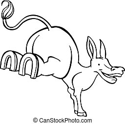 Stubborn Mule Cartoon Line Art - Stubborn Mule Cartoon Line...