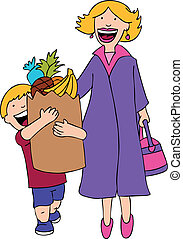 Son Helps Mom with the grocery bag cartoon