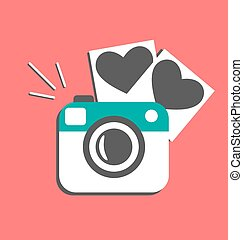 Love flat photo camera with hearts photo frames isolated on red