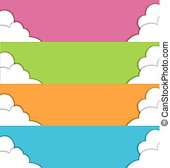 Four multicolored spring banners with clouds - Four...