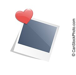 Love photo frame on wall with red heart magnet isolated on white