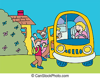school bus cartoon of children, driver picking up at home.
