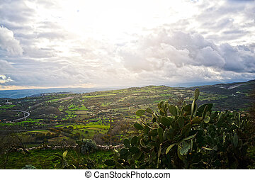 Sicily - Landscape with rustic house in the open countryside...