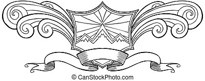 Wave Shield Crest Line Art isolated on a white background