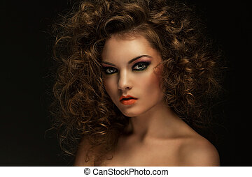Beautiful woman with curls and makeup - Beautiful caucasian...