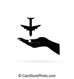 aircraft in hand black vector