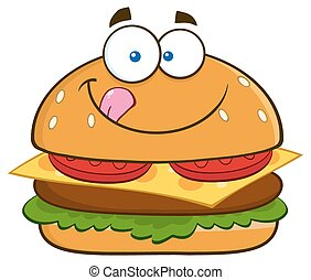Hungry Hamburger Licking His Lips - Hungry Hamburger Cartoon...