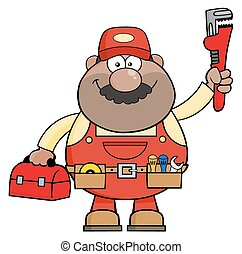 African American Mechanic Cartoon Character With Wrench And...