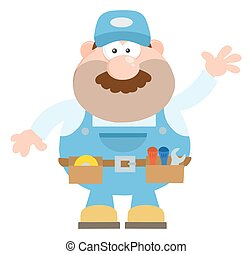 Mechanic Cartoon Character