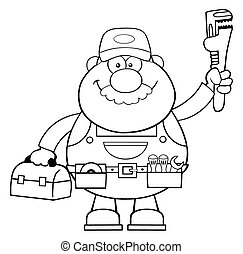 Black And White Mechanic Character - Black And White...