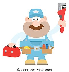 Mechanic With Wrench And Tool - Mechanic Cartoon Character...