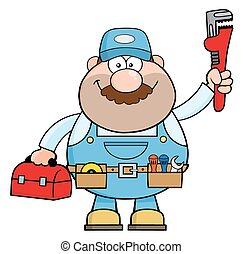 Handyman Cartoon Character With Wrench And Tool Box