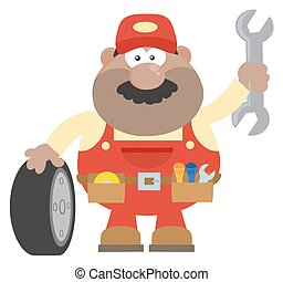 Smiling African American Mechanic Cartoon Character With...