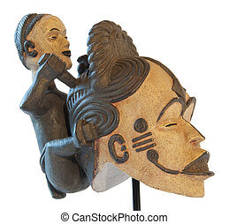 African traditional sculpture mother and son clay maternity...