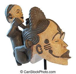 africano, tradicional, Escultura, madre, hijo, arcilla,...