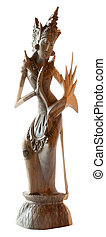 Indonesian traditional dancer statuette in sculpted wood