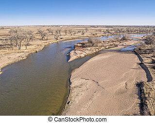 aerial view of South Platte River in eastern Colorado below...
