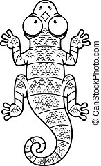 Cartoon Black and White Lizard - A cartoon illustration of a...