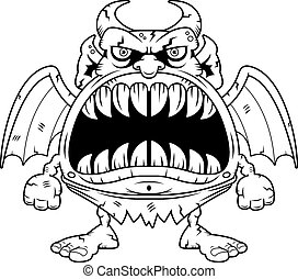 Angry Cartoon Gargoyle - A cartoon illustration of a...