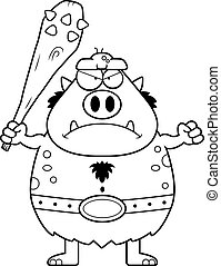 Angry Cartoon Troll - A cartoon illustration of a troll...