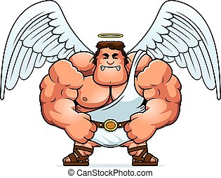 Angry Cartoon Angel - A cartoon illustration of a muscular...