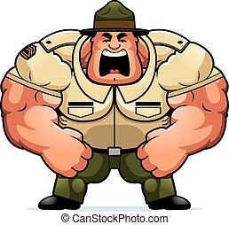 Cartoon Drill Sergeant Yelling - A cartoon illustration of a...