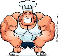 Cartoon Bodybuilding Chef - A cartoon illustration of a...