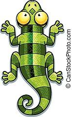 Cartoon Green Lizard - A cartoon illustration of a green...