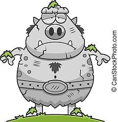 Stone Cartoon Troll - A cartoon illustration of a troll...
