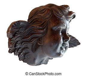 Young angel in sculpted wood