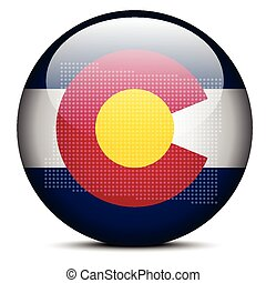 Map with Dot Pattern on flag button of USA Colorado State