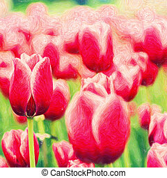 Beauty spring backgrounds with purple tulip, fine art...