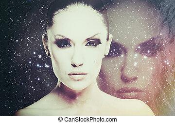 universo, Ciencia, Extracto, fondos, ficción, cara