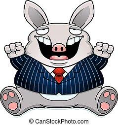 Cartoon Fat Aardvark Suit - A cartoon illustration of a fat...