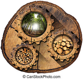 Lumber Industry - Gears on Tree Trunk - Section of tree...