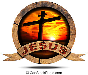 Jesus - Wooden Icon with Cross - Round wooden icon with...