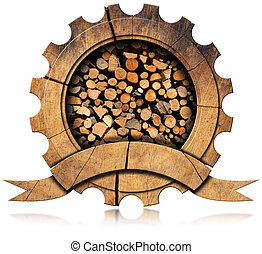 Lumber Industry - Wooden Icon - Wooden icon in the shape of...