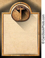 Christian Background with Wooden Cross - Christian...