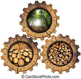 Lumber Industry - Wooden Gears - Three wooden gears with...