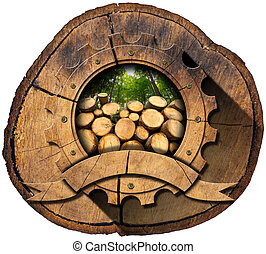 Lumber Industry - Wooden Icon on Trunk - Wooden icon in the...