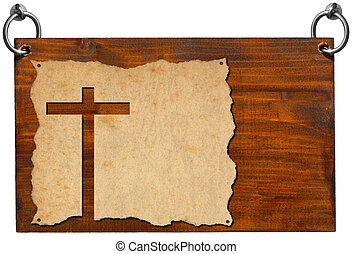 Christian Signboard - Parchment with Cross - Wooden...