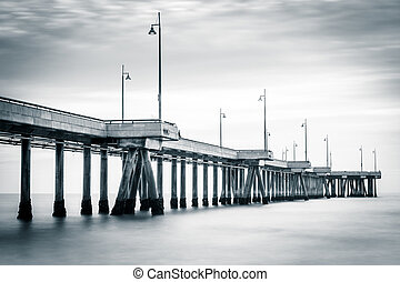 Long exposure of the pier at sunset, in Venice Beach, Los Angele