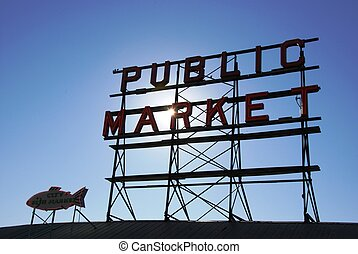 Public Market - a sign for the public market in Seattle, WA
